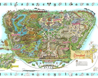 Disneyland 1962 Hand-Retouched Vintage Cartoon Map Print (Not available anywhere else!)