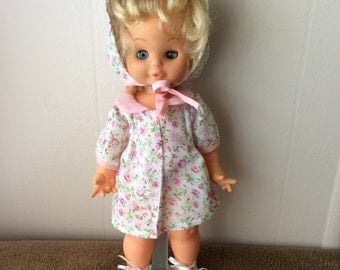 Playmates Doll, white dress with pink flowers and hat, vintage
