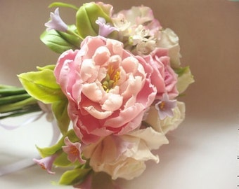 Bouquet peony  cold porcelain, bridal bouquet,  wedding bouquet, peony clay, a bouquet of flowers, clay flowers