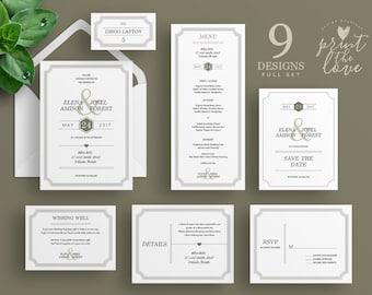 Printable Wedding Invitation Set, Printable Wedding Invitation Suite, Printable, Wedding invitation suite template, Elena Suite (WS009)
