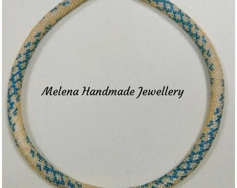 SALE!! SALE!! Gold with ultramarine green necklace. Crochet rope necklace.