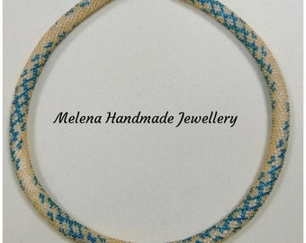 Gold with ultramarine green necklace. Crochet rope necklace.