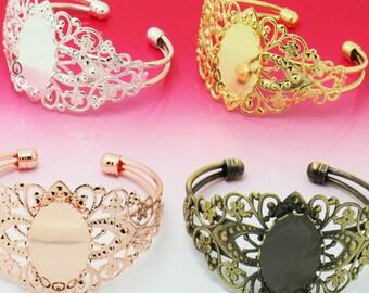 10pcs 18x25mm Oval setting Blank Bracelet Cuff, bracelet blanks, Bezel Bracelet Blank, Bracelet Tray, Bezel Cuff