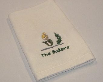 Personalized Nautical Themed Mermaid Premium Velour Hand Towel