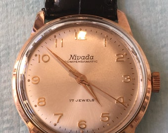 Nivada wrist watch 17 Jewels vintage Compensamatic 70 years reviewed