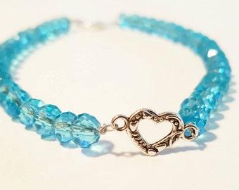Blue beaded heart bracelet