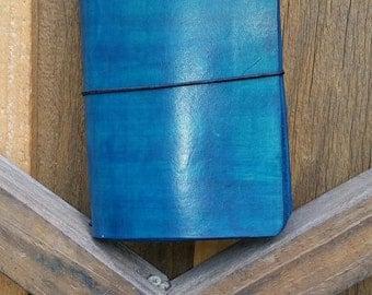 Field Note Travelers Notebook, Caribbean Dusk Field Note, Crisdori Studios, Leather Covers, Fauxdori