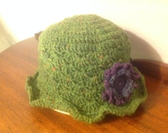 Crochet hat made in Donegal tweed 100% wool