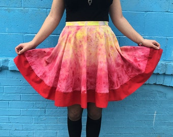 SALE 50% OFF Hand Dyed Red Circle Skirt, High Waist Skirt, Full Skirt, Skater Skirt, Red Ombre Skirt, Bright Summer Skirt, Cotton Skirt
