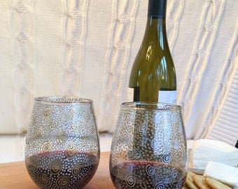 Hand painted stemless wine glasses (set of 2)