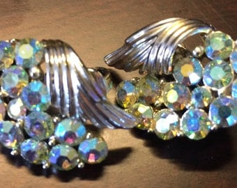 A 3 for 29.99 Item! Vintage~1960s Clip On Iridescent Silver Winged Earrings~Crystal Glass~Classy & SPARKLY All At Once!