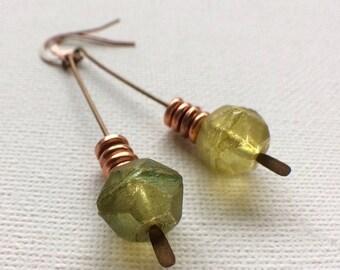 Chartreuse Earrings, Peridot Earrings, Czech Glass Copper Earrings, Lime Green Earrings, Olive Green Earrings, Verde Earrings, Drop Earrings