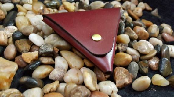 Premium Burgundy Stich less coin pouch made from Premium English Bridle leather.