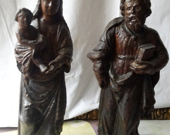 17 st.polycrome sculpture of Joseph and Mary with Jesus