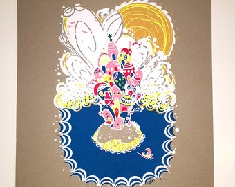 Here - Hand-pulled Silkscreen Print - Original Design by Sugar Pop Press