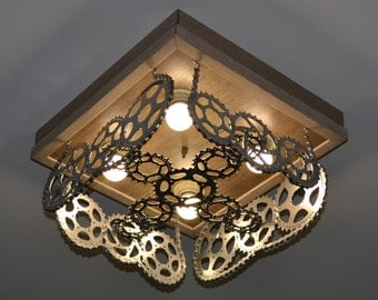 Designer bike lamp, lighting fixture, chandelier, cycle chandelier, Chandeliers, bicycle lamp, recycled bicycle, steampunk lamp, ndustrial