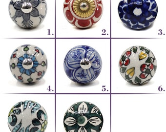 Ceramic Hand Painted Drawer, Dresser and Cabinet Knobs or Pulls