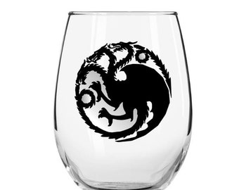 Targaryen House Stemless Wine Glass, Game of Thrones Wine Glass