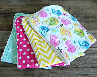Baby Girl Burp Cloths, Set of 4, Bright Summer Colors with Birds