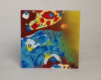"Composition with Primaries 6x6"" original acrylic panel"
