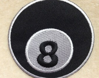 Black Billiard 8 Ball Pool Game Iron On Patch