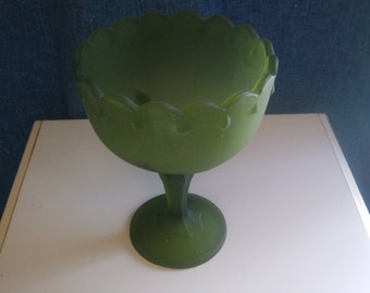 Green Frosted Compote/Green Frosted Candy Dish/Green Frosted Bowl