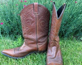Whiskey Leather Cowboy Boots