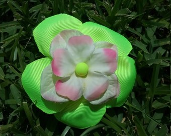 Neon Yellow Flower Clip #225