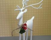 Painted Solid brass Christmas Reindeer statue figurine