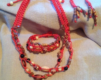 Bright Coral Square Knot Macrame Necklace, Bracelet & Earrings Set