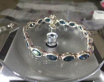 Blue Topaz on Sterling Silver Bracelet