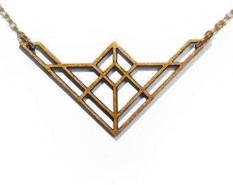 Laser Cut Wooden Necklace : #6