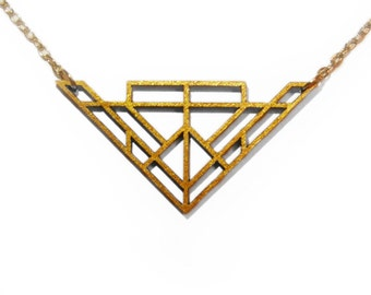 Gold Geometric Laser Cut Wooden Necklace : #13