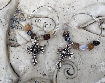 Cross Gemstone Hoop Earrings