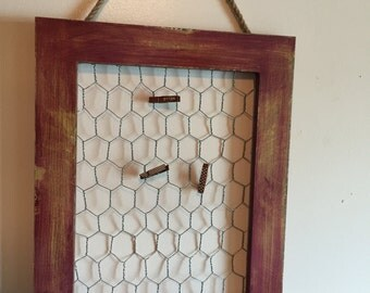 Chicken Wire Picture Holder Repurposed Picture Frame Rustic Picture Holder