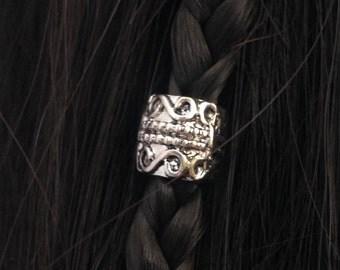 Hair bead kit The 'Gypsy' Bead swirls and dots silver hair bead steampunk cosplay goth Celtic Elvish boho ZINC ALLOY