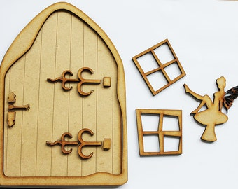 Iggledy Piggledy MDF Fairy Door Kit with Window Frames, ready to assemble and paint