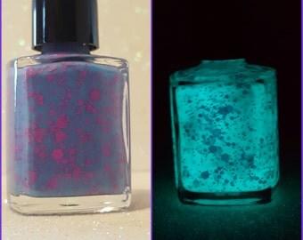 Blue Raspberry- glow in the dark, hand made nail polish