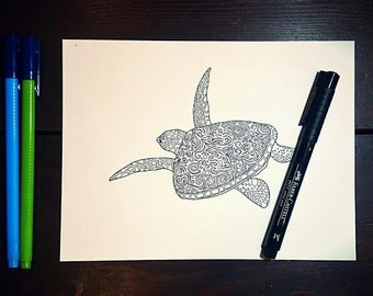 Patterned Sea Turtle - PDF Only, Printable Colouring Page