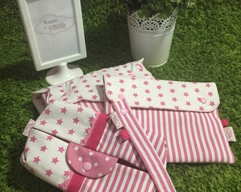 Water proof nappy change pad + wipes case + documents case + dummy clip