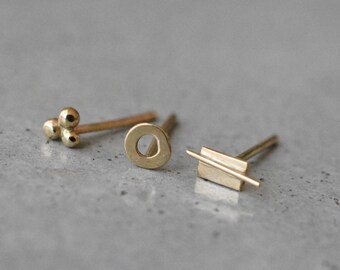 Solid gold stud earrings, mix and match earrings, yellow gold stud earrings, minimalist, 14k gold stud earrings, 14k tiny gold stud earrings