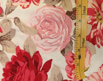 Westminster Fibers, Rowan, rose garden by Martha Negley, PWMN070, Stripped Rose, Natural, quilting material, rose floral print