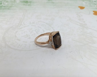14k rose gold Smoky Quartz ring with dainty diamonds