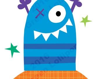 Bright Blue Monster print