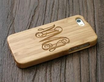 Custom Iphone SE Case, Personalized Wood Iphone 5 Case, Custom Engrave iPhone SE Case - Bamboo LWIP5