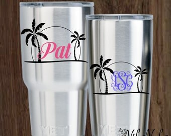 Sunset Monogram   Sunset with Name   Yeti Decal for Women   Water Bottle Decal   Laptop Decal  Yeti Decal