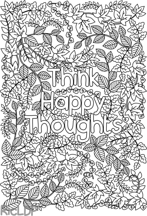 quote coloring pages for adults | Printable 'Think Happy Thoughts' coloring page by ...