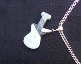 Guitar pendant. Silver necklace. Gift for her