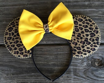 Leopard Print Mouse Ears- 6 bow options