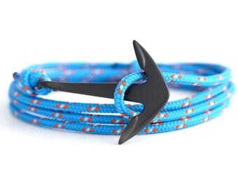 Anchor bracelet matte black / Caribbean